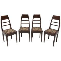 Antique Art Nouveau Oak Dining Chairs, Set of 4