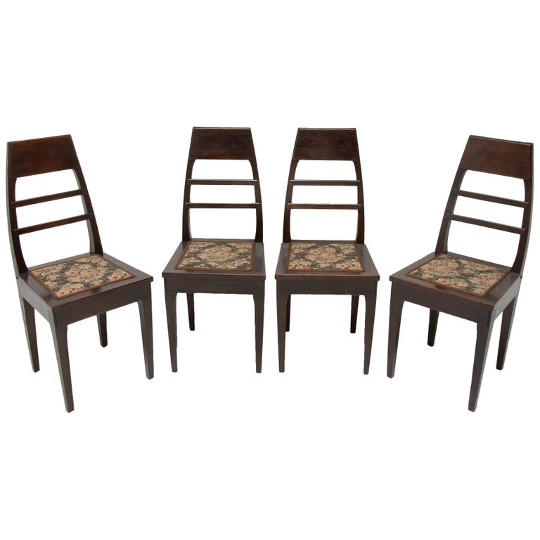 Antique Art Nouveau Oak Dining Chairs, Set of 4 For Sale