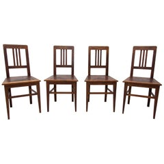 Antique Art Nouveau Oak Dinning Chairs Set of 4