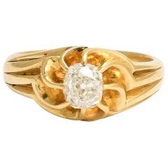 Antique Art Nouveau OMC Diamond Swirled Gypsy Ring