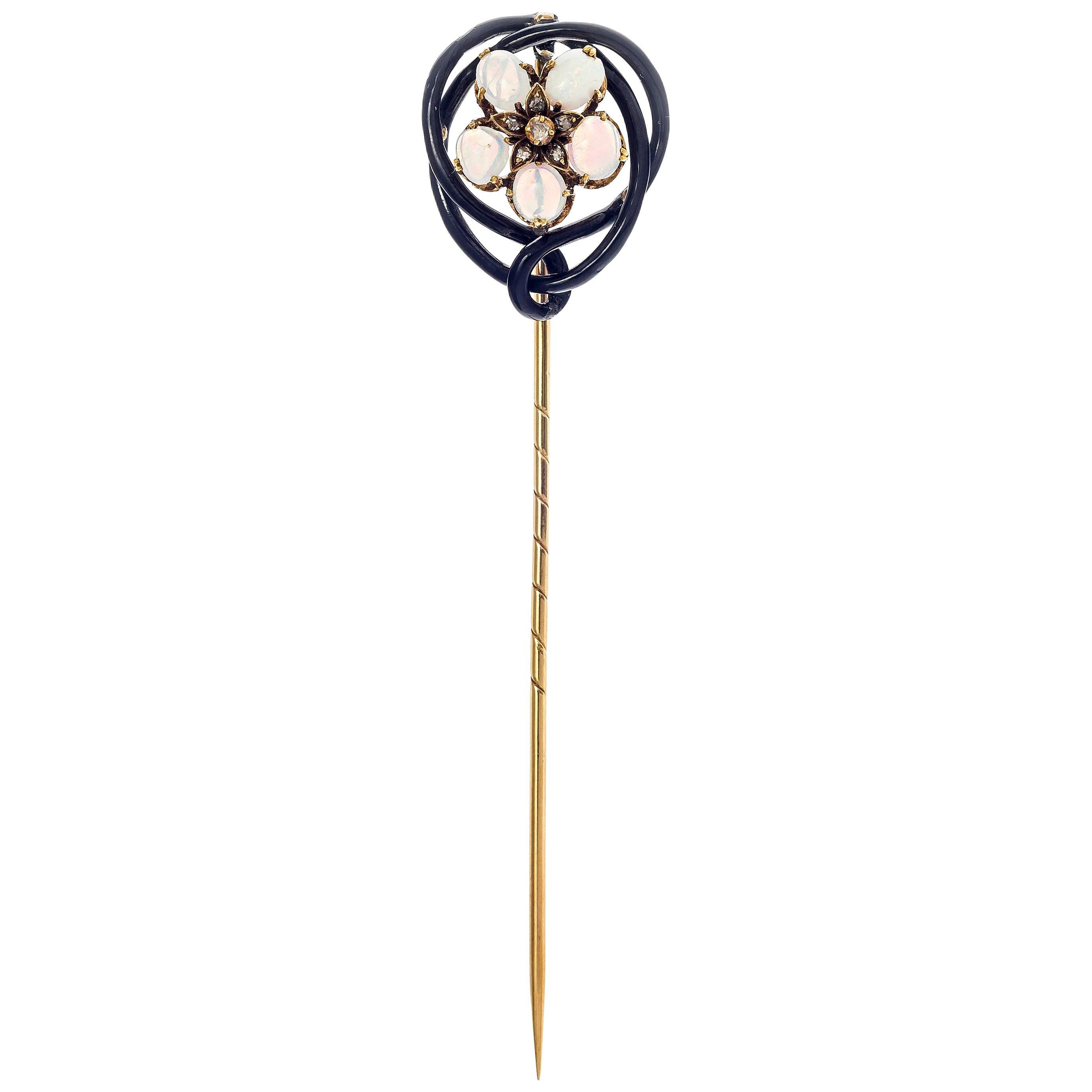 Antique Art Nouveau Opal Diamond Enamel Gold Flower Stick Pin