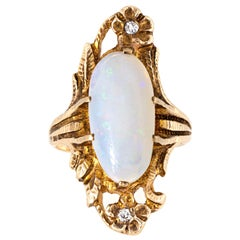 Antique Art Nouveau Opal Diamond Ring Flowers Vintage Fine Jewelry Nature