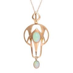 Antique Art Nouveau Opal Rose Gold Pendant Necklace