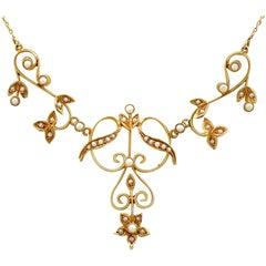Antique Art Nouveau Pearl Gold Necklace