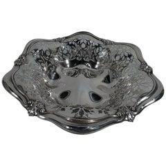 Antique Art Nouveau Pierced Sterling Silver Bowl by Gorham