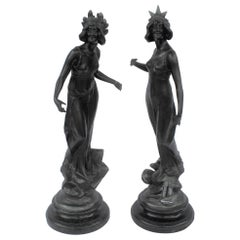 Antique Art Nouveau Pair of Ladies, Spelter, Dk Bronze Color, Marble Base a Pair