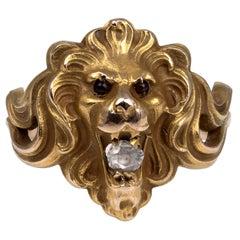 Antique Art Nouveau Rose Cut Diamond Garnets Roaring Lion Ring