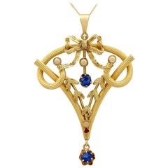 Antique Art Nouveau Ruby Sapphire and Seed Pearl Yellow Gold Pendant
