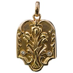Antique Art Nouveau Russian Gold Diamond Locket Pendant