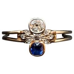 Antique Art Nouveau Saphire and Diamond Red Gold Ring, Austria, Around 1900
