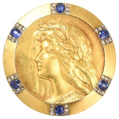 "Antique Art Nouveau Sapphire Diamond ""Joan Of Arc"" Brooch"