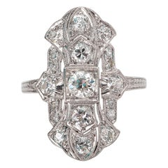 Antique Art Nouveau Shield Right Hand Deco Platinum Diamond Ring