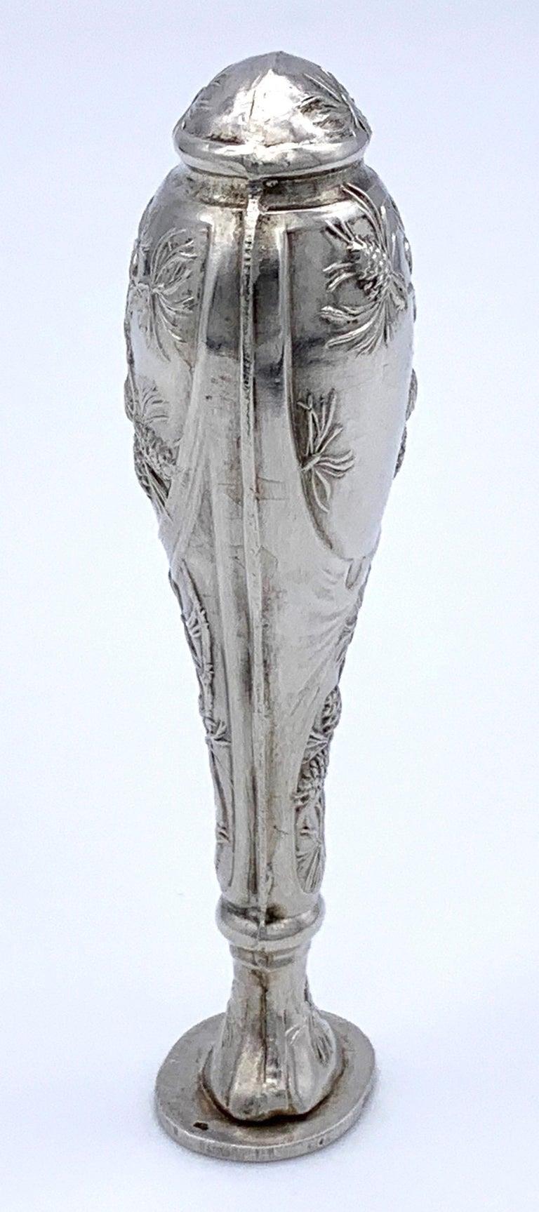 Women's or Men's Antique Art Nouveau Silver Desktop Seal Pine Cones, France For Sale