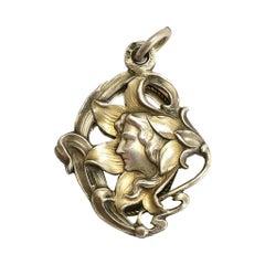 Antique Art Nouveau Silver Mirror Locket Necklace