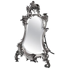 Antique Art Nouveau Silvered Table Mirror, 1890s
