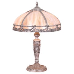 Antique Art Nouveau Slag Glass Table Lamp Attributed to Bradley & Hubbard, 1920s