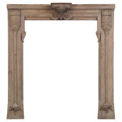 Antique Art Nouveau Solid Walnut Fireplace Mantle circa 1888-1910 Unrestored