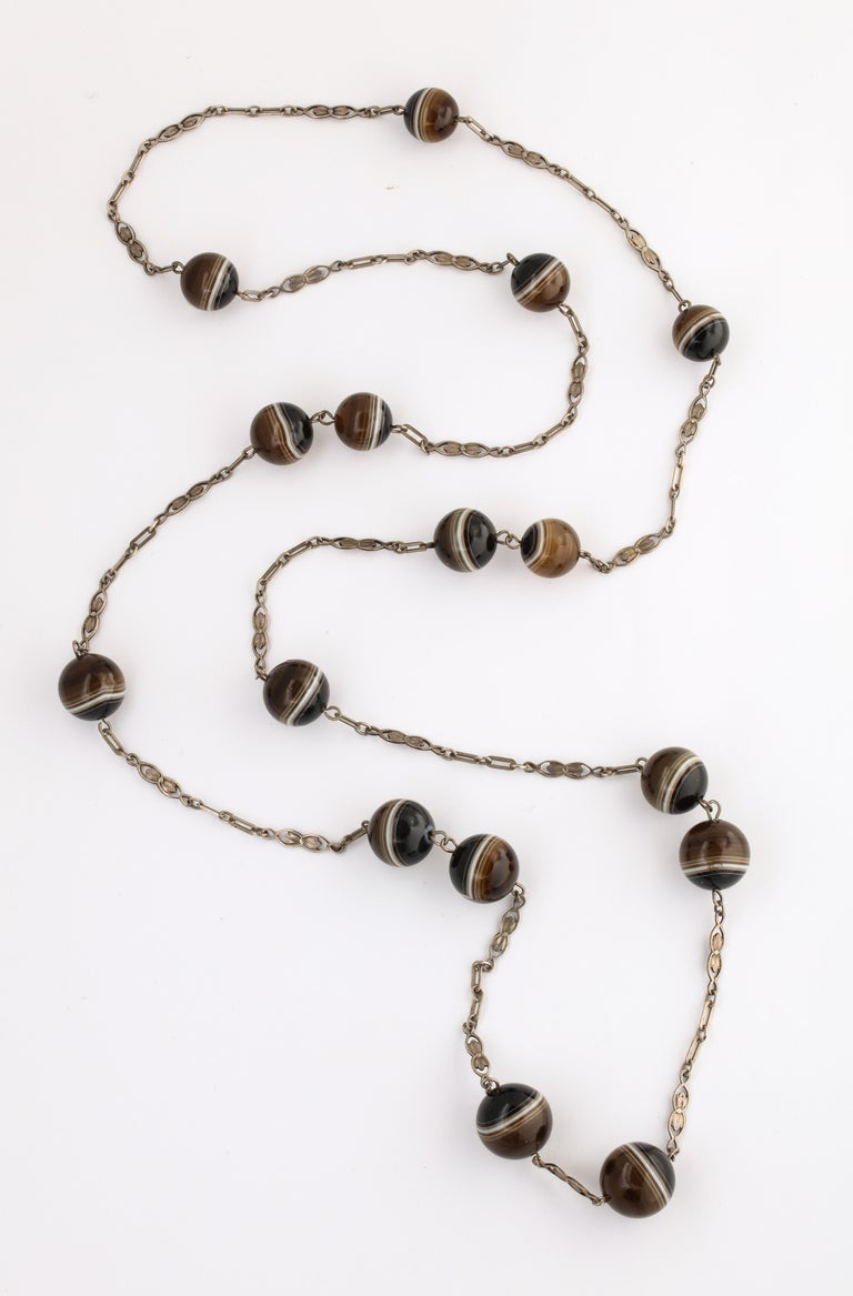 Ball Cut Antique Art Nouveau Sterling and Banded Agate Chain For Sale