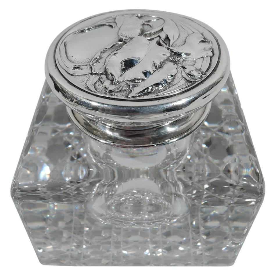 Antique Art Nouveau Sterling Silver and Cut-Glass Inkwell by Gorham