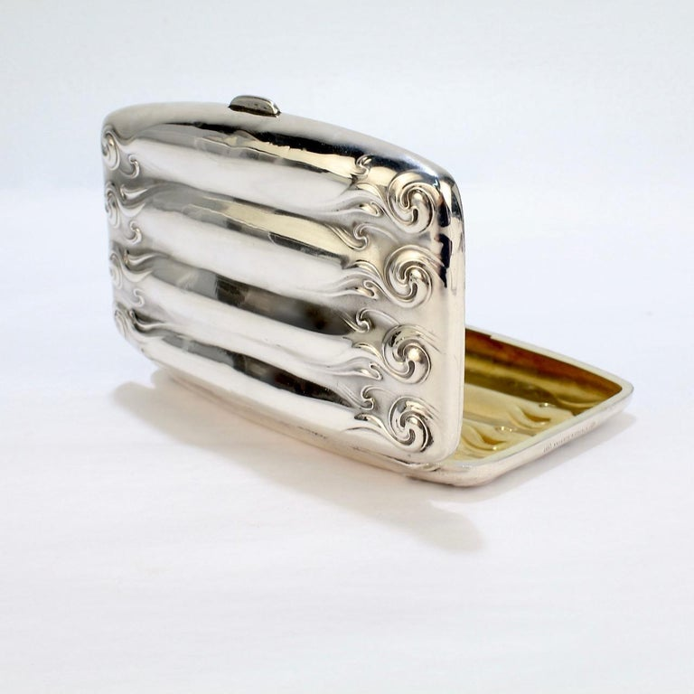 Antique Art Nouveau Sterling Silver Cigar Case by Unger Brothers For Sale 6