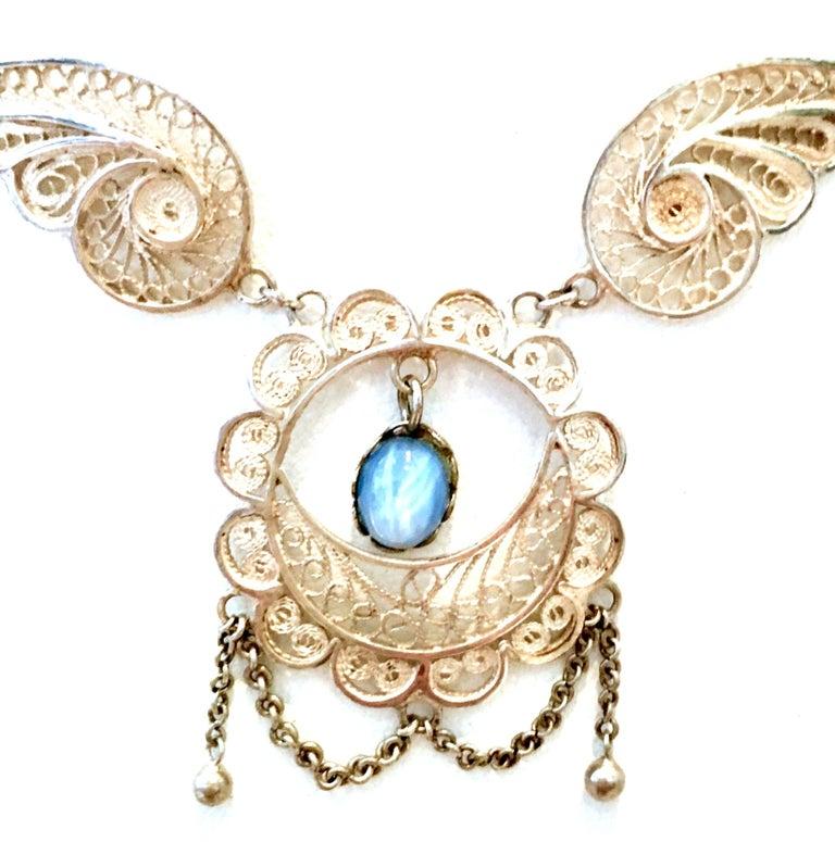 Women's or Men's Antique Art Nouveau Sterling Silver & Moonstone Pendant Necklace