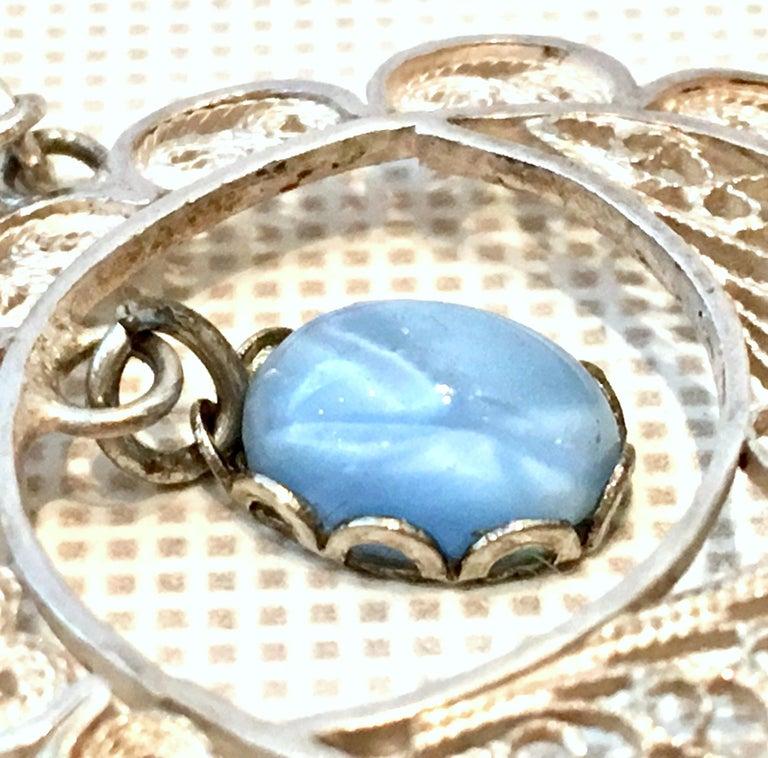 Antique Art Nouveau Sterling Silver & Moonstone Pendant Necklace 1