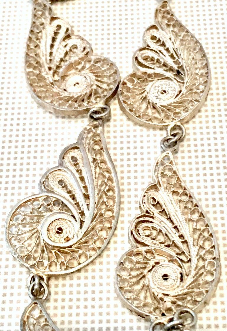 Antique Art Nouveau Sterling Silver & Moonstone Pendant Necklace 2