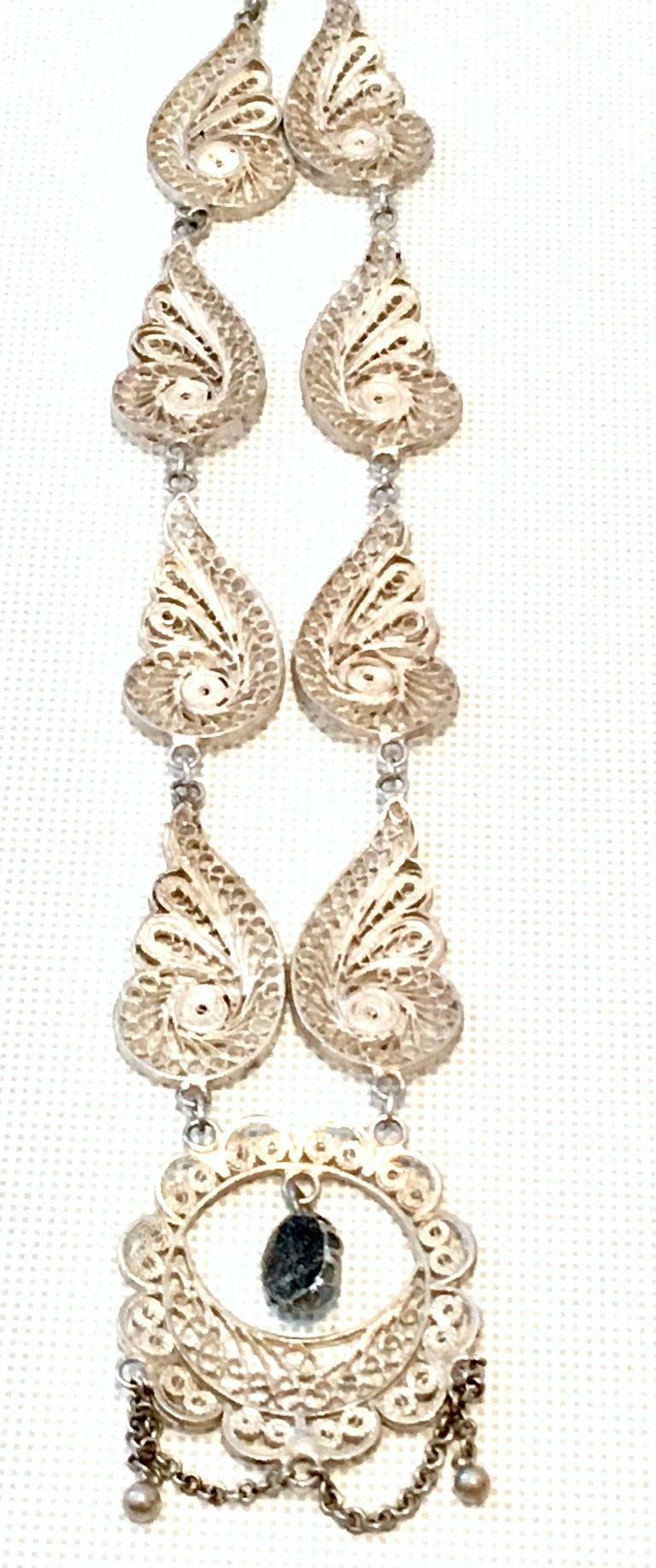 Antique Art Nouveau Sterling Silver & Moonstone Pendant Necklace 4