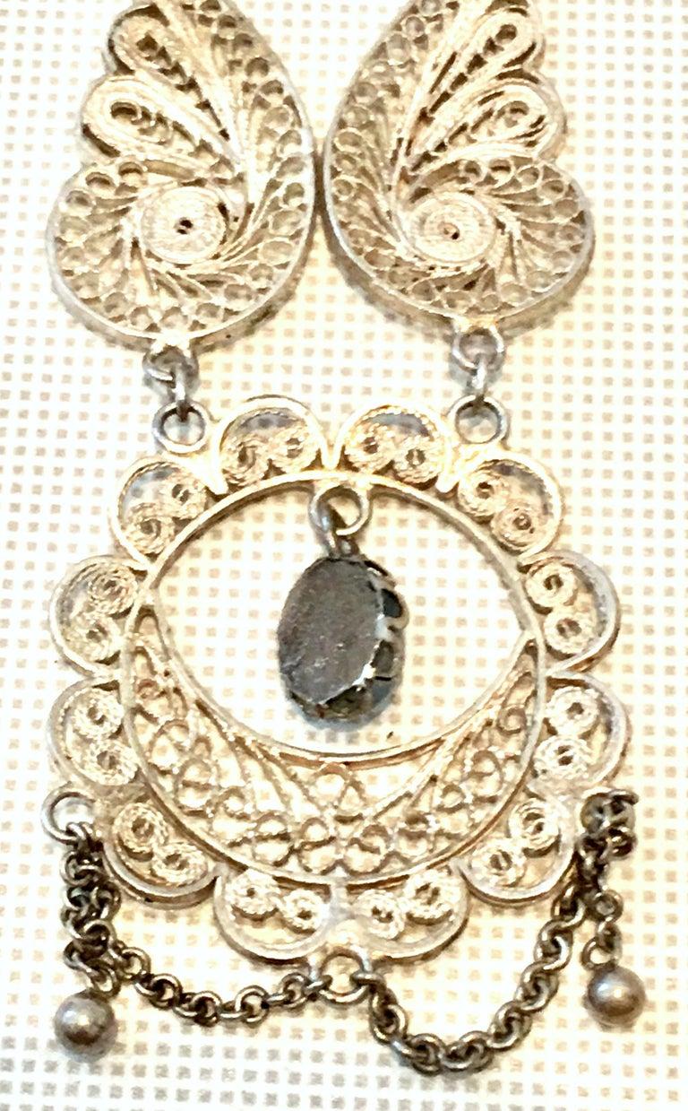 Antique Art Nouveau Sterling Silver & Moonstone Pendant Necklace 5