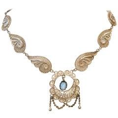 Antique Art Nouveau Sterling Silver & Moonstone Pendant Necklace