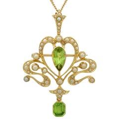 Antique Art Nouveau Style 2.32 Carat Peridot Seed Pearl 15 Karat Gold Pendant