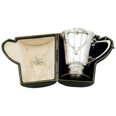Antique Art Nouveau Style Edwardian Sterling Silver Christening Mug