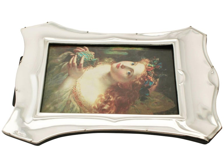 Antique Art Nouveau Style English Sterling Silver Photograph Frame For Sale 3