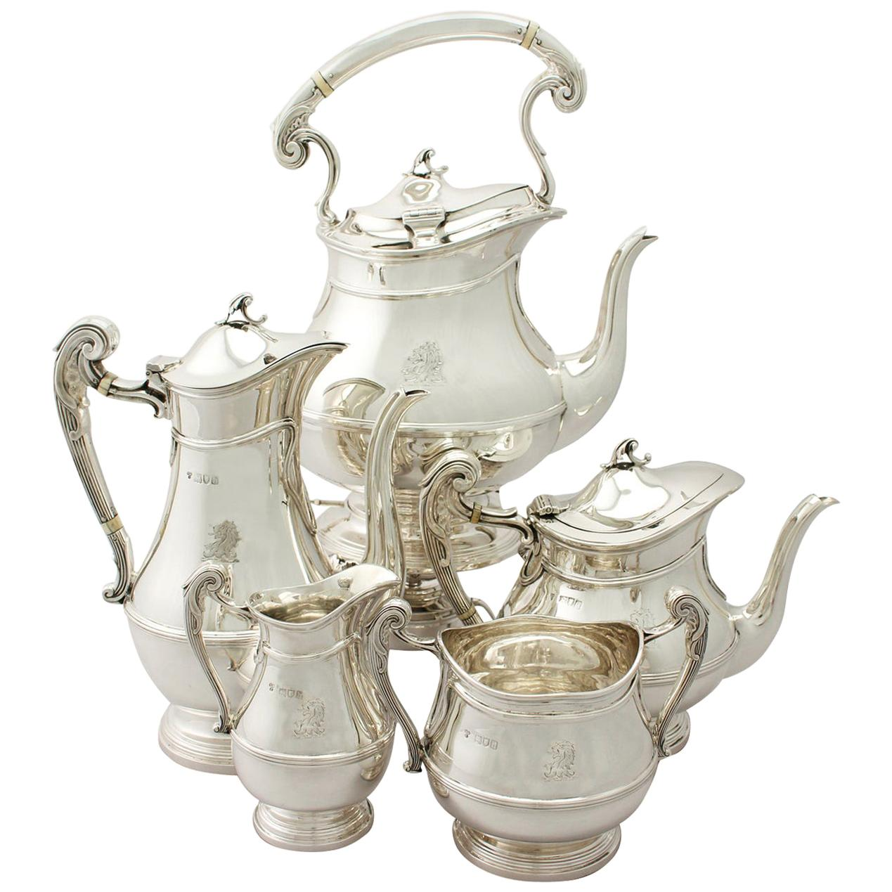 Antique Art Nouveau Style Sterling Silver Five-Piece Tea and Coffee Service