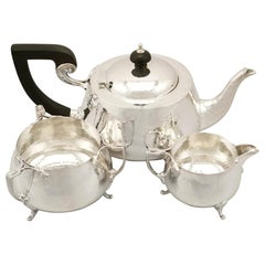 Antique Art Nouveau Style Sterling Silver Three-Piece Tea Service