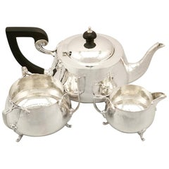 Antique Art Nouveau Style Sterling Silver Three-Piece Tea Service