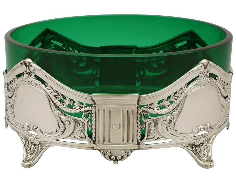 Sterling Silver Antique Art Nouveau Style Suite of German Silver and Green Glass Dishes For Sale