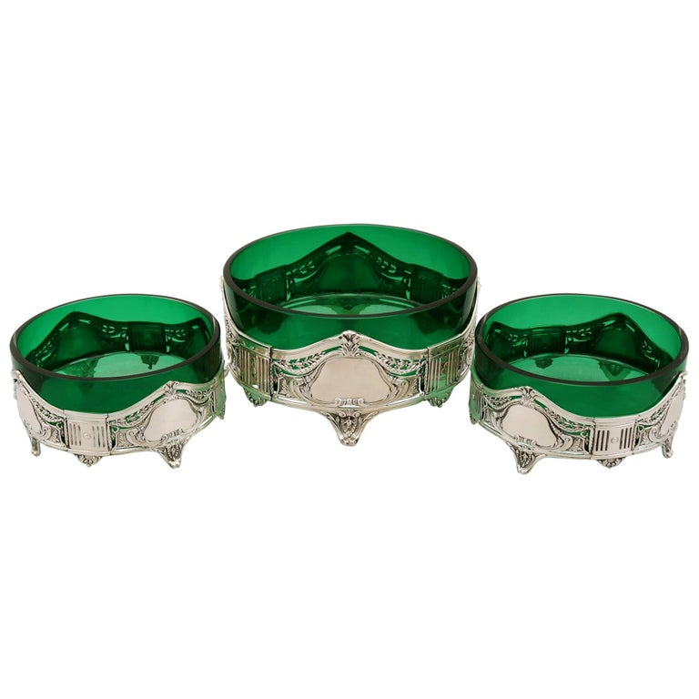 Antique Art Nouveau Style Suite of German Silver and Green Glass Dishes For Sale