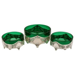 Antique Art Nouveau Style Suite of German Silver and Green Glass Dishes