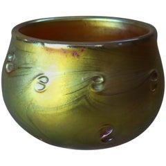 Antique Art Nouveau Tiffany School Art Glass Bowl, 20th Century