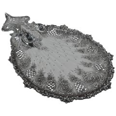 Antique Art Nouveau Tiffany Sterling Silver Petit-Four Plate