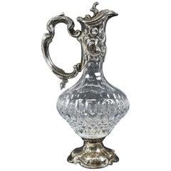Antique Art Nouveau Topazio Silver Plate and Cut Glass Pitcher Caraffe Claret