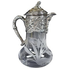 Antique Art Nouveau Topazio Silver Plate and Etched Glass Carafe/Pitcher/Claret