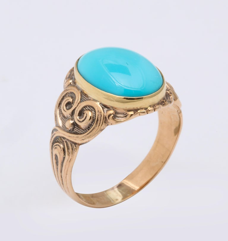 Oval Cut Antique Art Nouveau Turquoise and Gold Ring For Sale