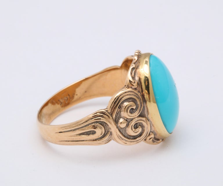 Antique Art Nouveau Turquoise and Gold Ring For Sale 1