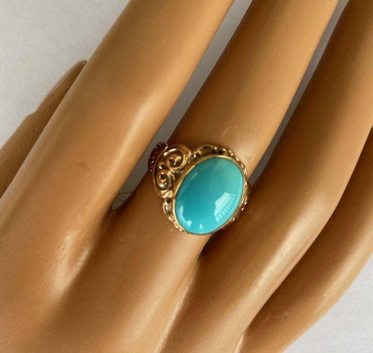 Antique Art Nouveau Turquoise and Gold Ring For Sale 3