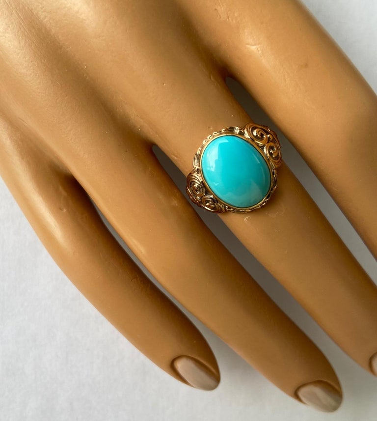 Antique Art Nouveau Turquoise and Gold Ring For Sale 4