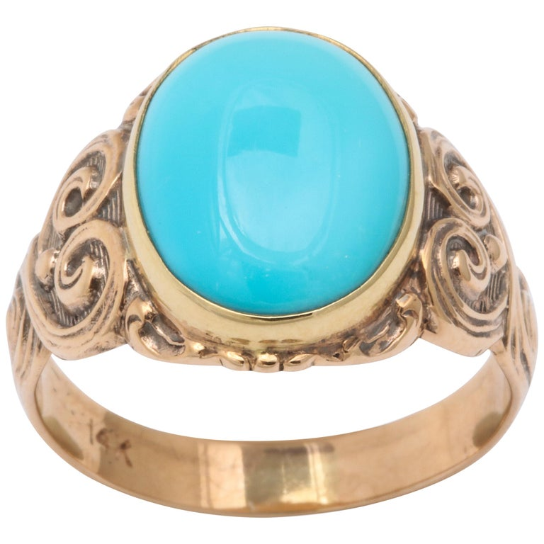 Antique Art Nouveau Turquoise and Gold Ring For Sale