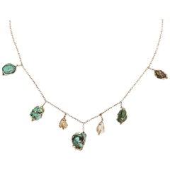 Antique Art Nouveau Turquoise Matrix Baroque Pearl Necklace