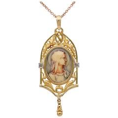 Antique Art Nouveau Virgin Mary Beautiful Cameo Pendant